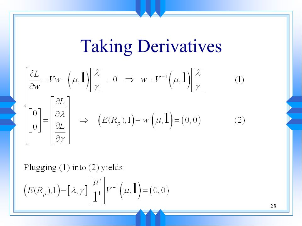 28 Taking Derivatives
