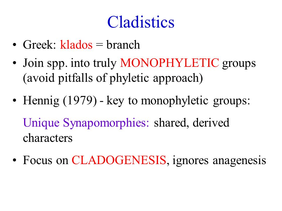 Cladistics Greek: klados = branch Join spp.