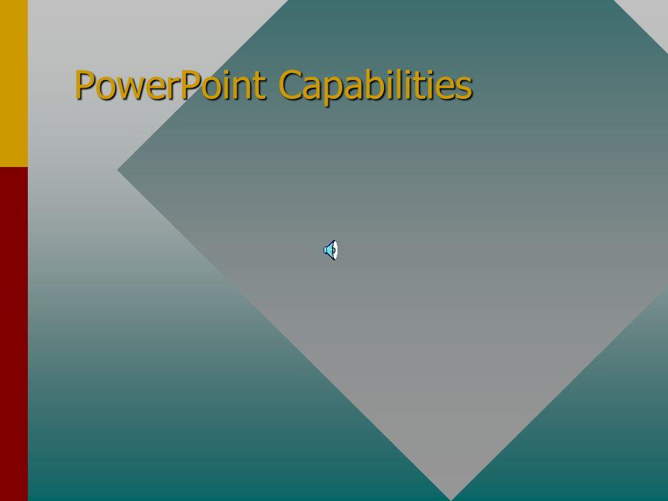 Visuals (con't) Computer ImagesComputer Images PostersPosters ProjectorsProjectors TV/VCRTV/VCR Flip Charts Chalkboard Handouts