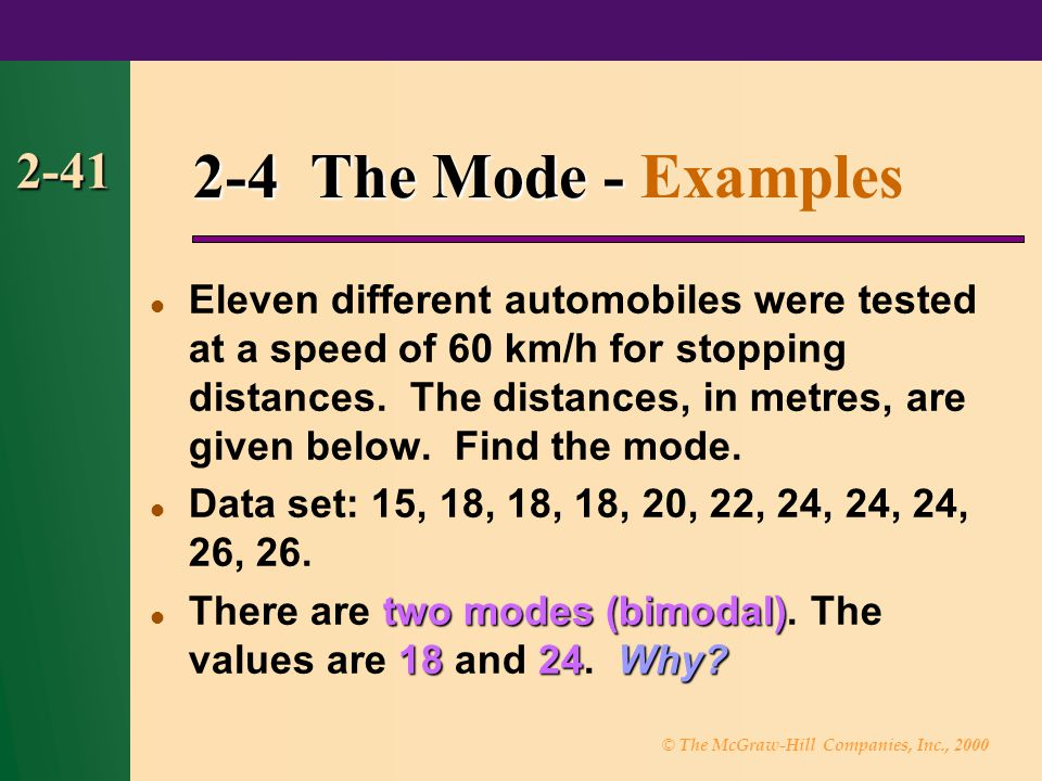 © The McGraw-Hill Companies, Inc., 2000 2-41 2-4 The Mode - 2-4 The Mode - Examples Eleven different automobiles were tested at a speed of 60 km/h for stopping distances.