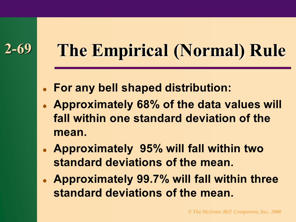 © The McGraw-Hill Companies, Inc., 2000 2-69 The Empirical (Normal) Rule For any bell shaped distribution: Approximately 68% of the data values will fall within one standard deviation of the mean.