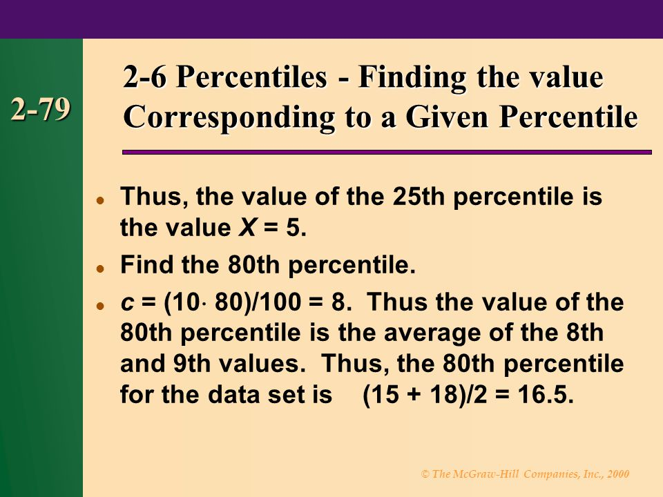 © The McGraw-Hill Companies, Inc., 2000 2-79 2-6 Percentiles - Finding the value Corresponding to a Given Percentile Thus, the value of the 25th percentile is the value X = 5.