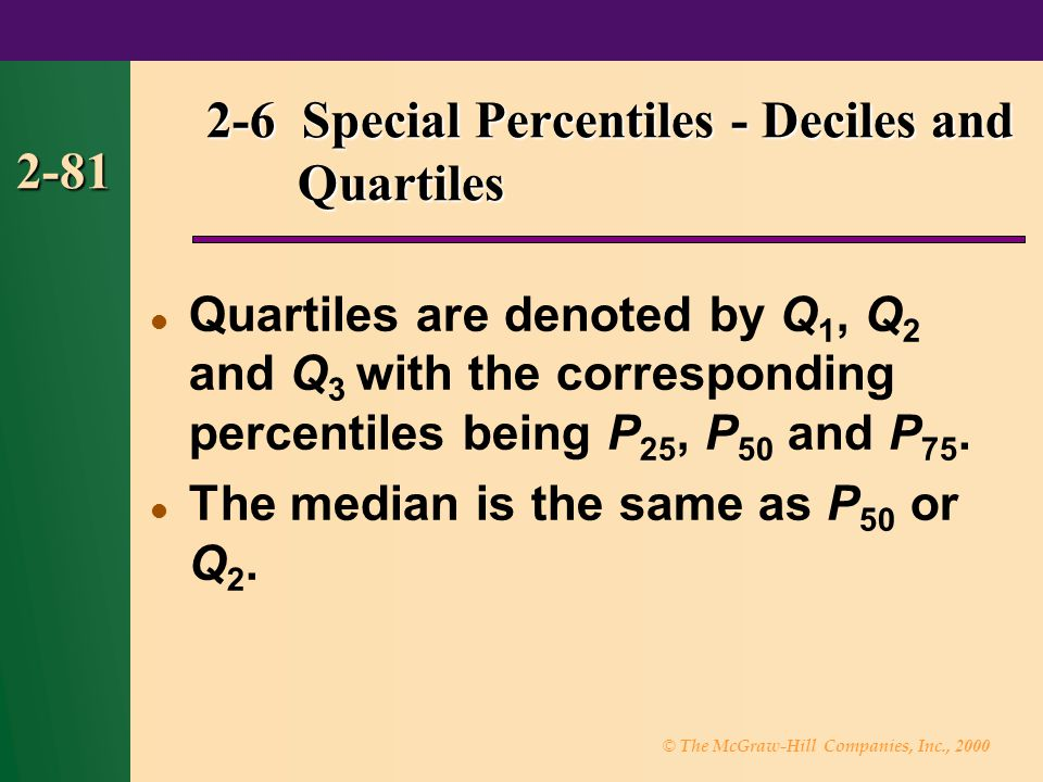 © The McGraw-Hill Companies, Inc., 2000 2-81 2-6 Special Percentiles - Deciles and Quartiles 2-6 Special Percentiles - Deciles and Quartiles Quartiles are denoted by Q 1, Q 2 and Q 3 with the corresponding percentiles being P 25, P 50 and P 75.