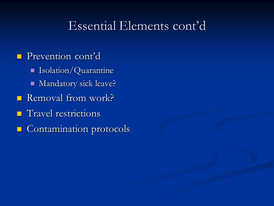 Essential Elements cont'd Prevention cont'd Prevention cont'd Isolation/Quarantine Isolation/Quarantine Mandatory sick leave? Mandatory sick leave? Re