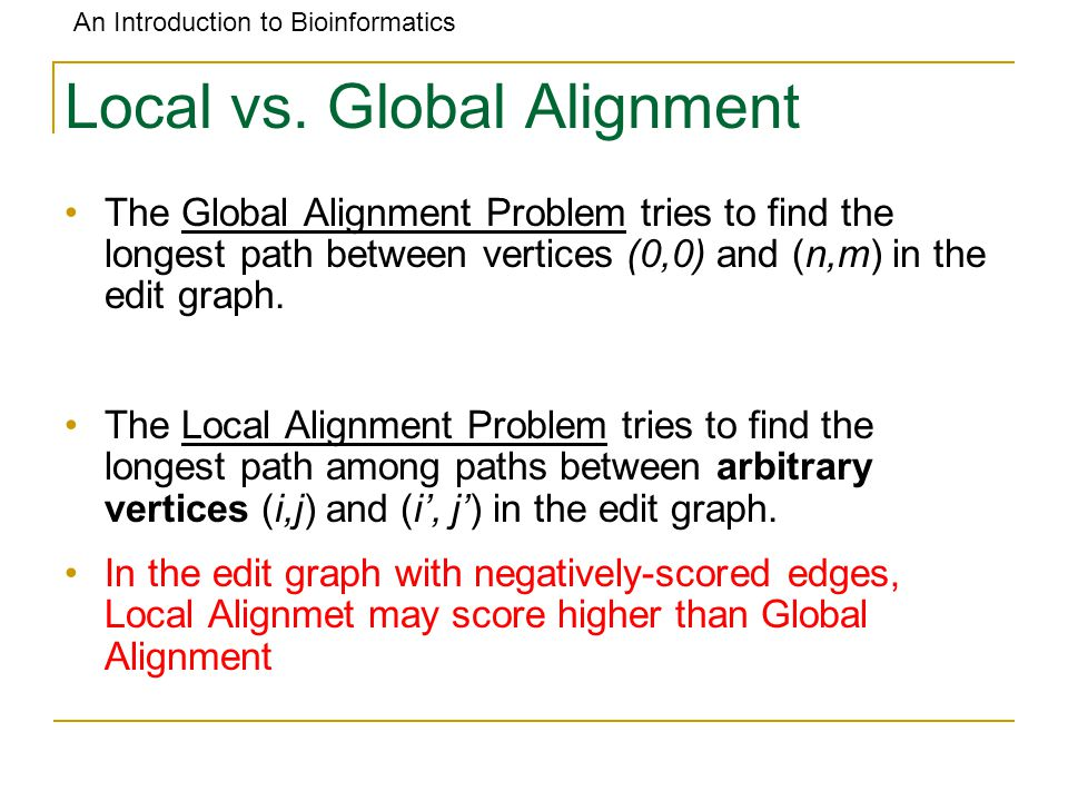An Introduction to Bioinformatics Local vs. Global Alignment The Global Alignment Problem tries to find the longest path between vertices (0,0) and (n