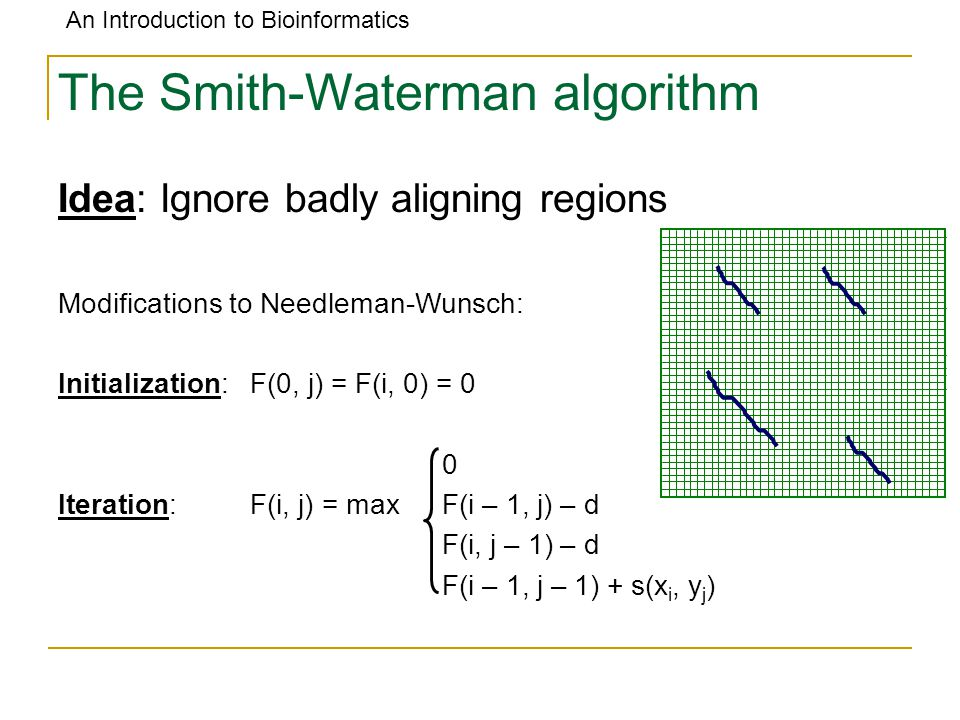 An Introduction to Bioinformatics The Smith-Waterman algorithm Idea: Ignore badly aligning regions Modifications to Needleman-Wunsch: Initialization:F