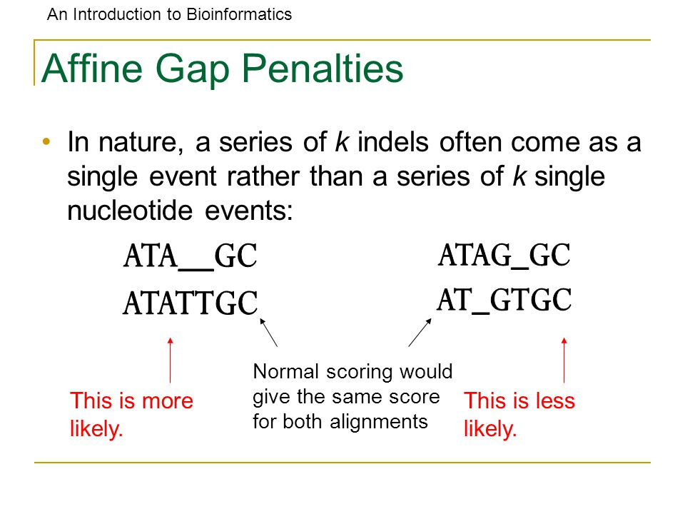 An Introduction to Bioinformatics Affine Gap Penalties In nature, a series of k indels often come as a single event rather than a series of k single nucleotide events: Normal scoring would give the same score for both alignments This is more likely.