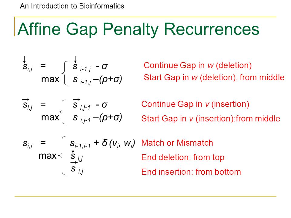An Introduction to Bioinformatics Affine Gap Penalty Recurrences s i,j = s i-1,j - σ max s i-1,j –(ρ+σ) s i,j = s i,j-1 - σ max s i,j-1 –(ρ+σ) s i,j = s i-1,j-1 + δ (v i, w j ) max s i,j s i,j Continue Gap in w (deletion) Start Gap in w (deletion): from middle Continue Gap in v (insertion) Start Gap in v (insertion):from middle Match or Mismatch End deletion: from top End insertion: from bottom