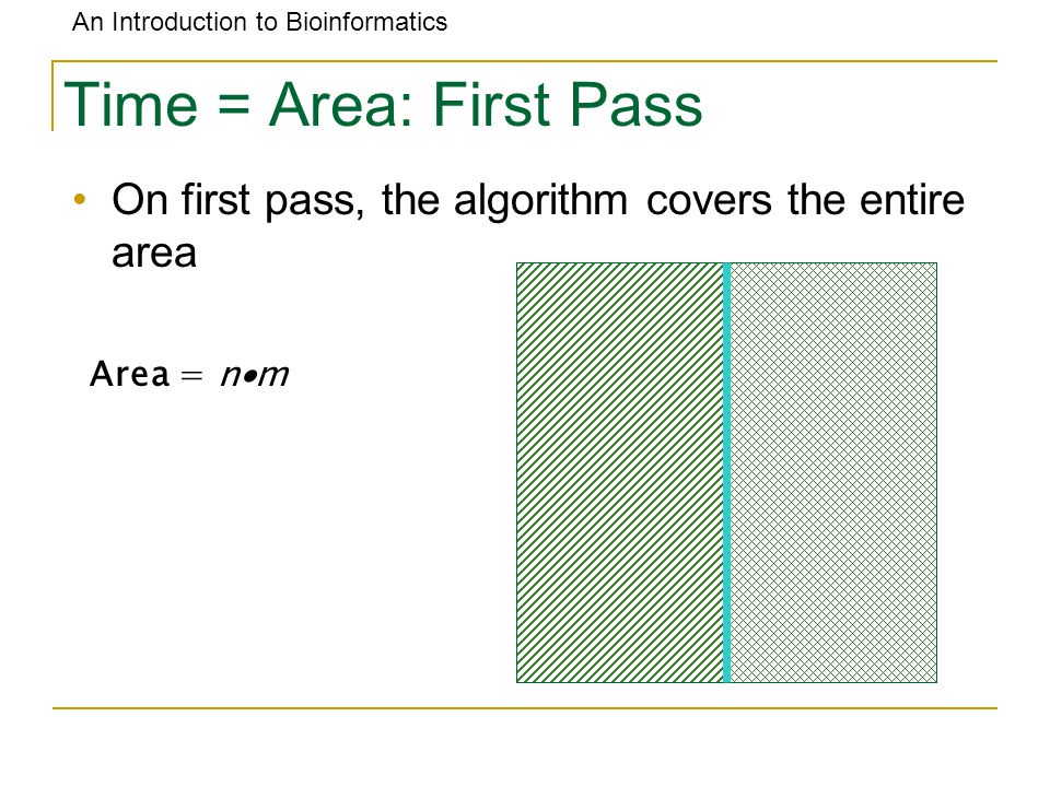 An Introduction to Bioinformatics Time = Area: First Pass On first pass, the algorithm covers the entire area Area = n  m