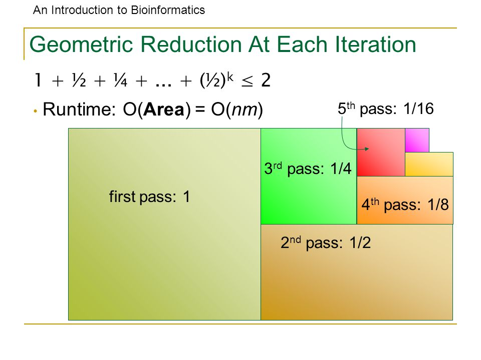 An Introduction to Bioinformatics Geometric Reduction At Each Iteration 1 + ½ + ¼ +...