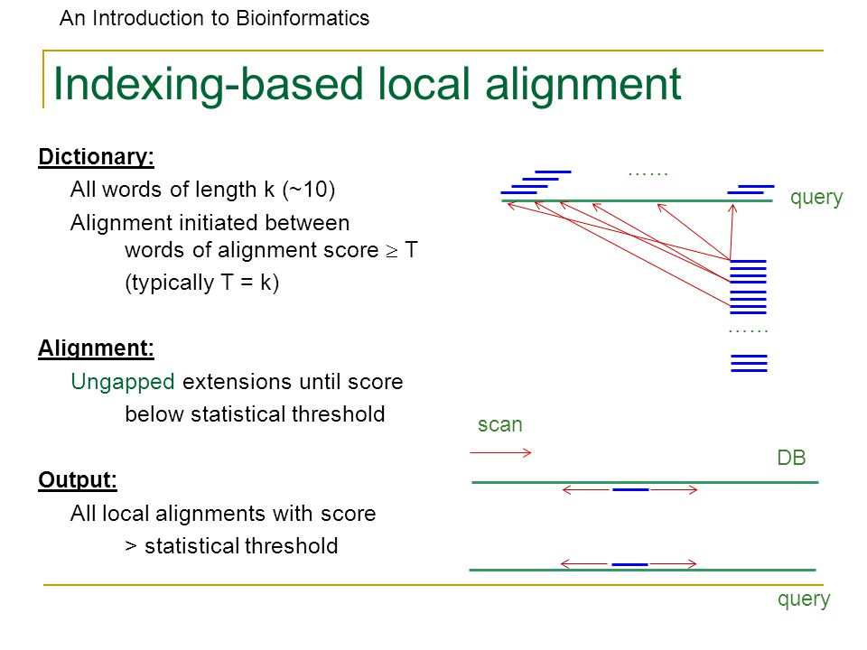 An Introduction to Bioinformatics Indexing-based local alignment Dictionary: All words of length k (~10) Alignment initiated between words of alignment score  T (typically T = k) Alignment: Ungapped extensions until score below statistical threshold Output: All local alignments with score > statistical threshold …… query DB query scan