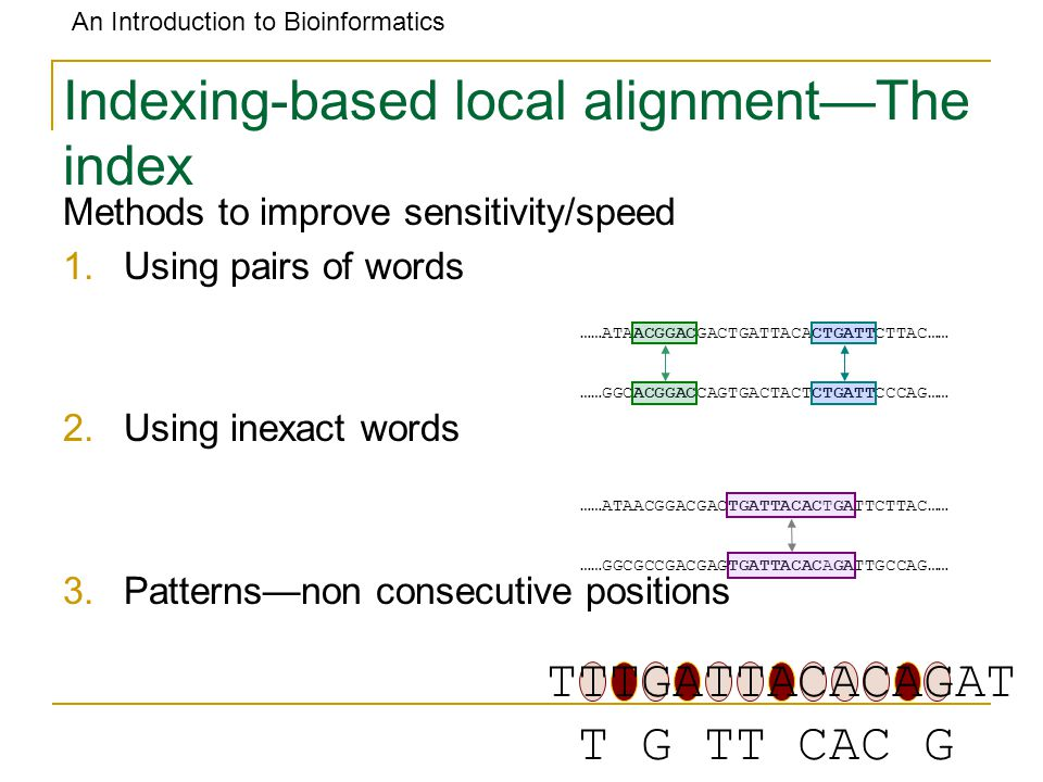 An Introduction to Bioinformatics Indexing-based local alignment—The index Methods to improve sensitivity/speed 1.Using pairs of words 2.Using inexact words 3.Patterns—non consecutive positions ……ATAACGGACGACTGATTACACTGATTCTTAC…… ……GGCACGGACCAGTGACTACTCTGATTCCCAG…… ……ATAACGGACGACTGATTACACTGATTCTTAC…… ……GGCGCCGACGAGTGATTACACAGATTGCCAG…… TTTGATTACACAGAT T G TT CAC G