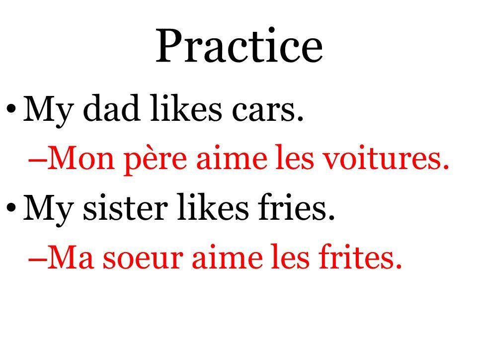 Practice My dad likes cars. – Mon père aime les voitures.