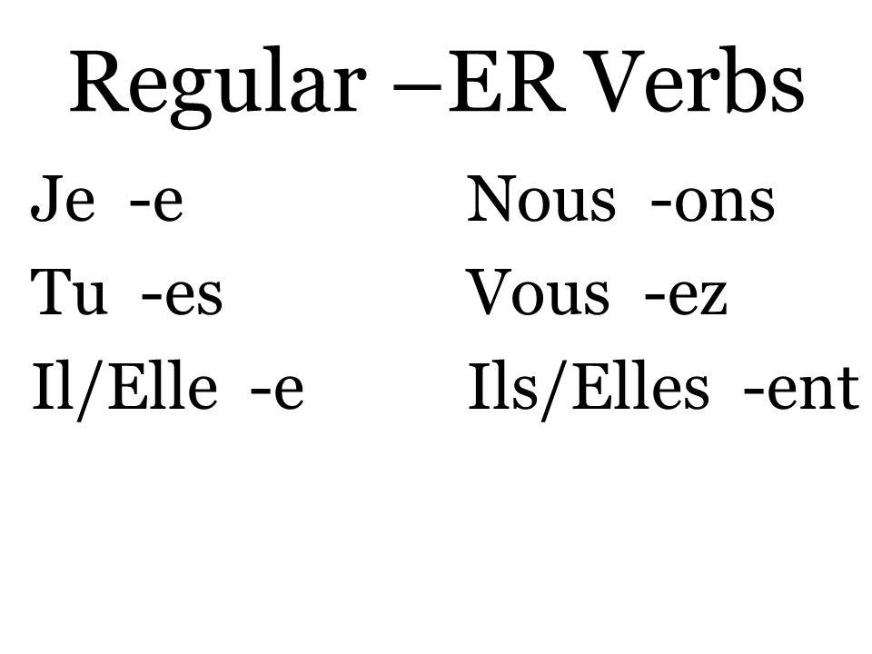 Regular –ER Verbs Je -eNous -ons Tu -esVous -ez Il/Elle -eIls/Elles -ent