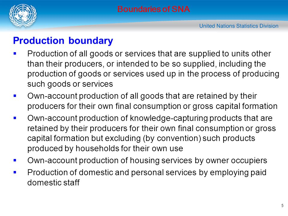 6 Extensions of production boundary in 2008 SNA  Research and development undertaken by market producers on their own behalf Not ancillary activity  Activities of moneylenders Provide financial services by lending using own funds or funds provided by sponsors Boundaries of SNA