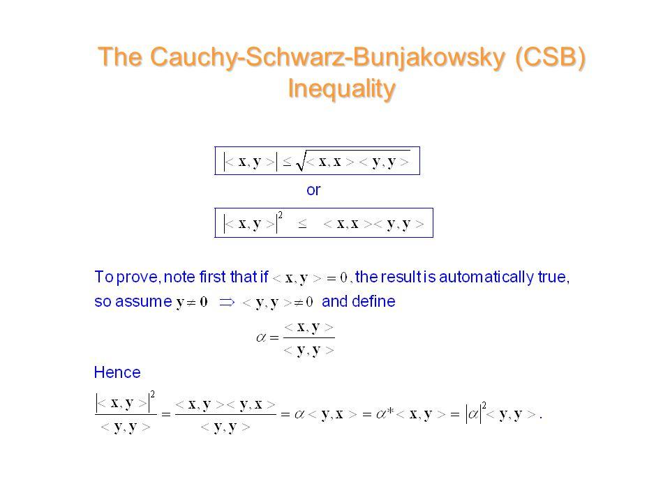 The Cauchy-Schwarz-Bunjakowsky (CSB) Inequality