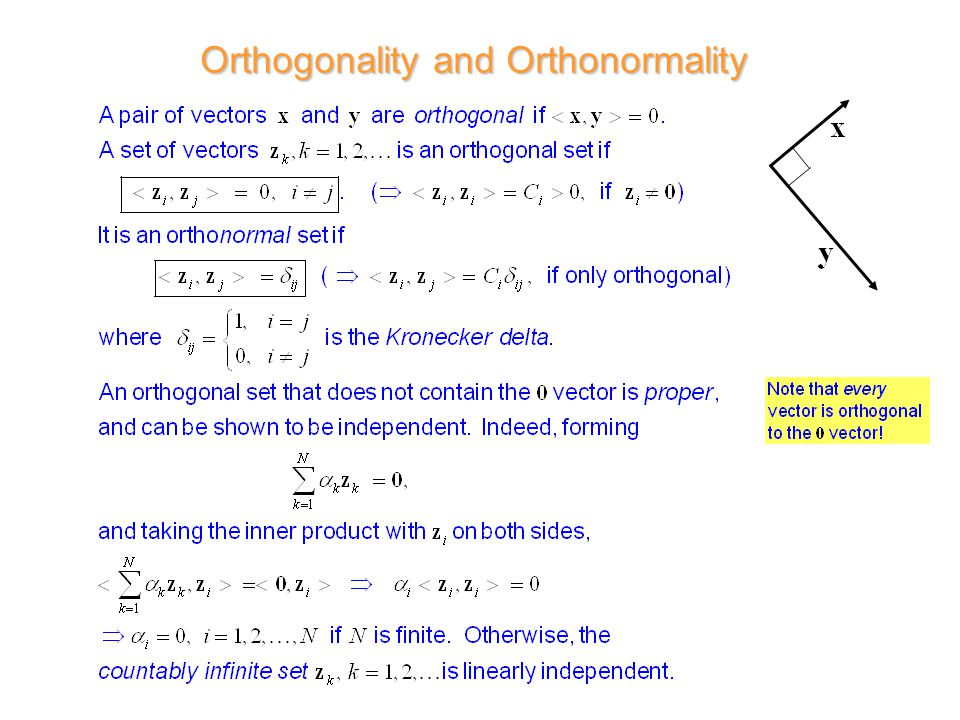 Orthogonality and Orthonormality