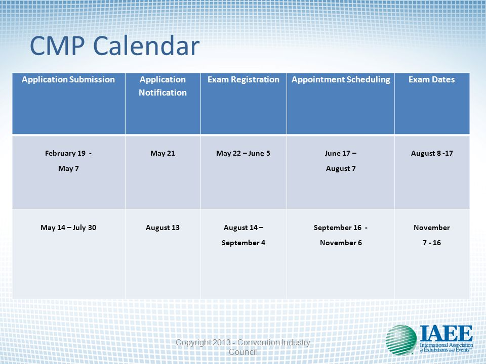 CMP Calendar Application Submission Application Notification Exam RegistrationAppointment SchedulingExam Dates February 19 - May 7 May 21May 22 – June 5 June 17 – August 7 August 8 -17 May 14 – July 30August 13 August 14 – September 4 September 16 - November 6 November 7 - 16 Copyright 2013 - Convention Industry Council