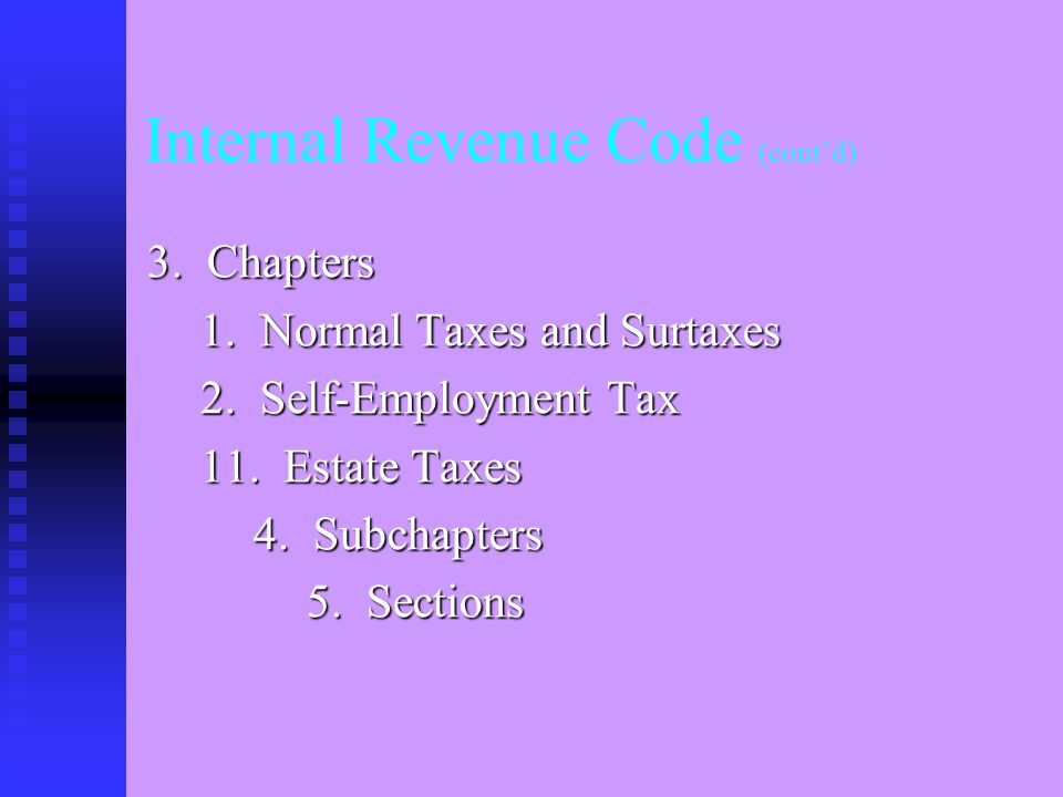 Internal Revenue Code (cont'd) 2. Parts I. Tax on Individuals II.
