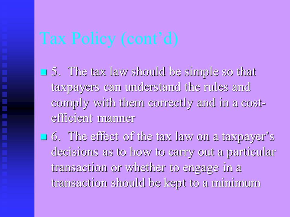 Internal Revenue Code (cont'd) 2.Parts I. Tax on Individuals II.