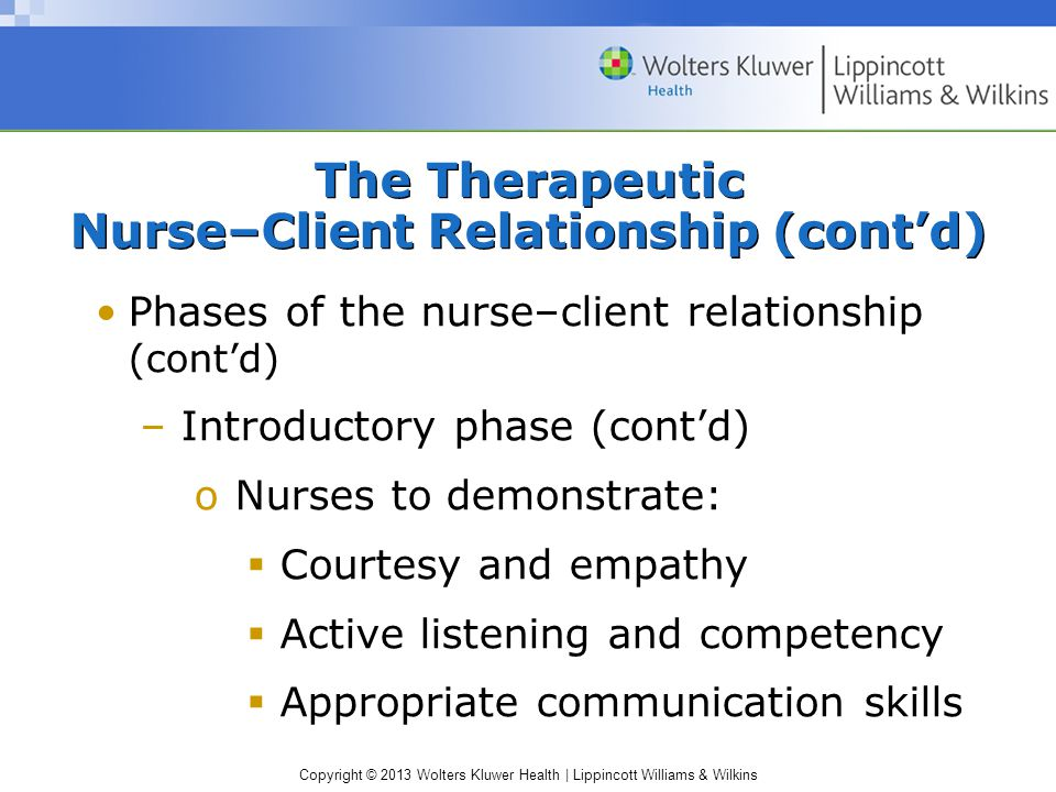 Copyright © 2013 Wolters Kluwer Health | Lippincott Williams & Wilkins The Therapeutic Nurse–Client Relationship (cont'd) Phases of the nurse–client relationship (cont'd) –Introductory phase (cont'd) oNurses to demonstrate:  Courtesy and empathy  Active listening and competency  Appropriate communication skills