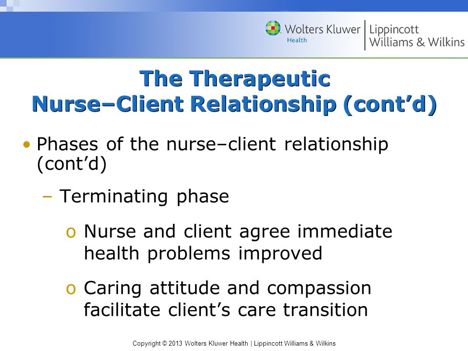 Copyright © 2013 Wolters Kluwer Health | Lippincott Williams & Wilkins The Therapeutic Nurse–Client Relationship (cont'd) Phases of the nurse–client relationship (cont'd) –Terminating phase oNurse and client agree immediate health problems improved oCaring attitude and compassion facilitate client's care transition