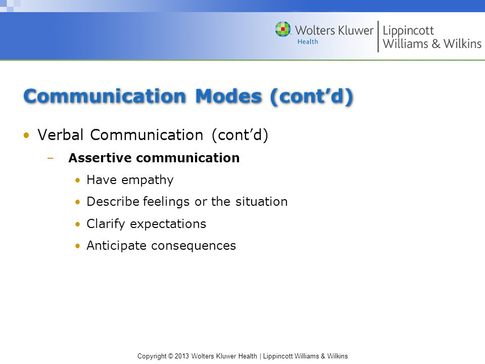 Copyright © 2013 Wolters Kluwer Health | Lippincott Williams & Wilkins Communication Modes (cont'd) Verbal Communication (cont'd) –Assertive communica