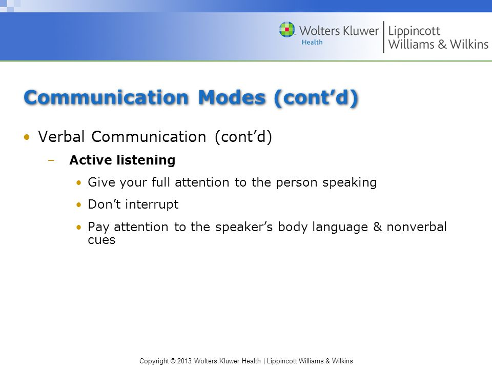 Copyright © 2013 Wolters Kluwer Health | Lippincott Williams & Wilkins Communication Modes (cont'd) Verbal Communication (cont'd) –Active listening Gi
