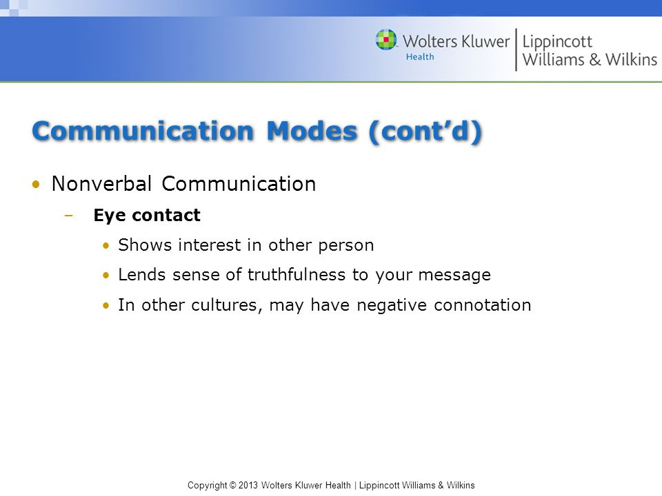Copyright © 2013 Wolters Kluwer Health | Lippincott Williams & Wilkins Communication Modes (cont'd) Nonverbal Communication –Eye contact Shows interest in other person Lends sense of truthfulness to your message In other cultures, may have negative connotation