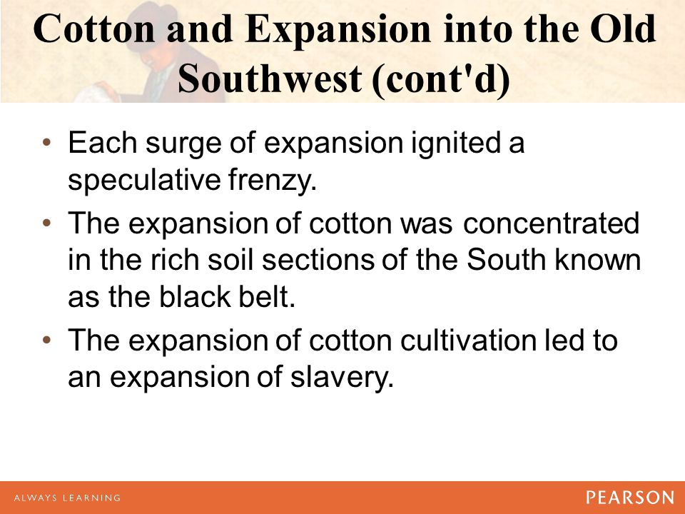 Cotton and Expansion into the Old Southwest (cont d) Each surge of expansion ignited a speculative frenzy.