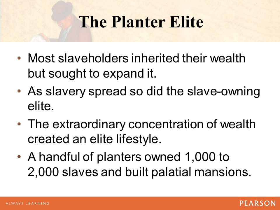 The Planter Elite Most slaveholders inherited their wealth but sought to expand it.