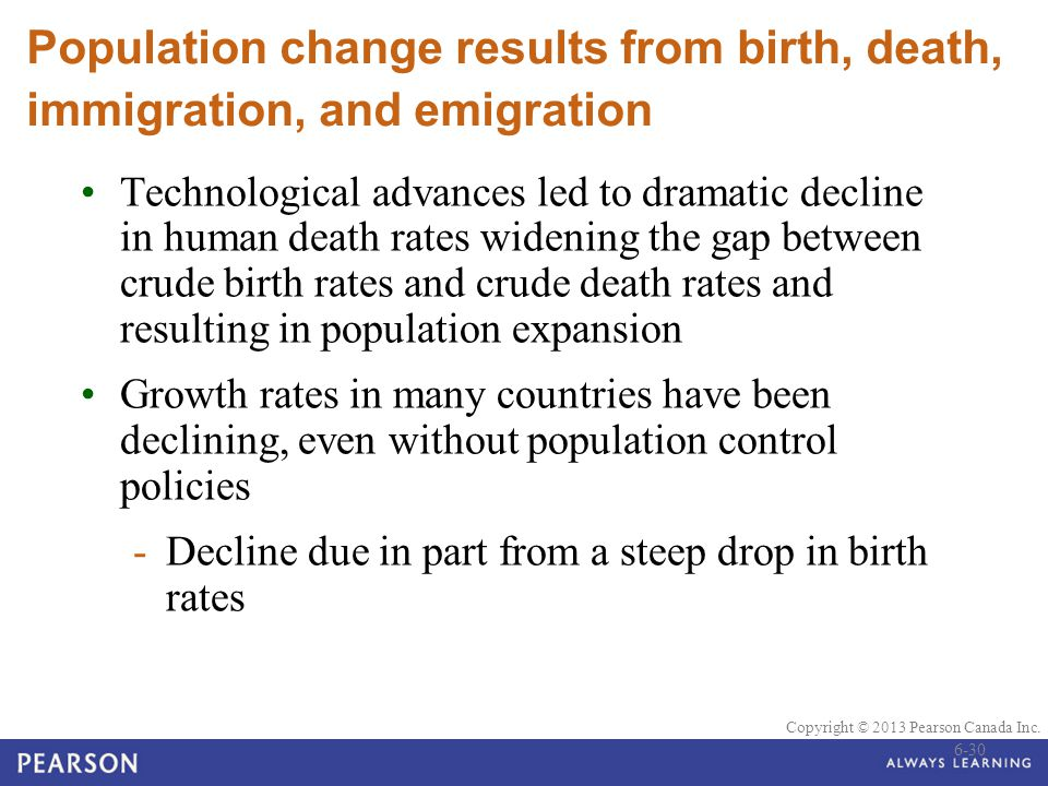 © 2010 Pearson Education Canada Copyright © 2013 Pearson Canada Inc. Population change results from birth, death, immigration, and emigration Technolo