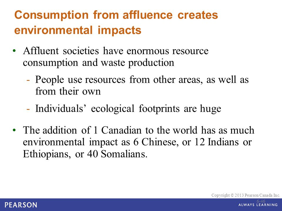 © 2010 Pearson Education Canada Copyright © 2013 Pearson Canada Inc. Consumption from affluence creates environmental impacts Affluent societies have