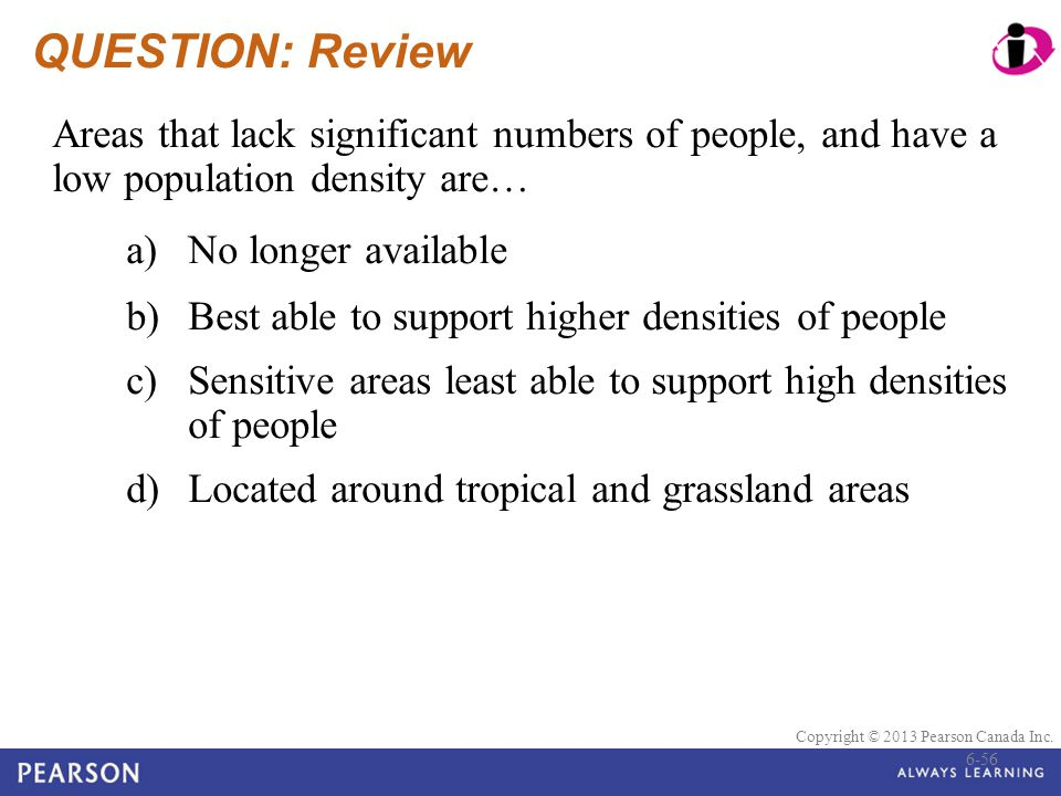 © 2010 Pearson Education Canada Copyright © 2013 Pearson Canada Inc. QUESTION: Review Areas that lack significant numbers of people, and have a low po