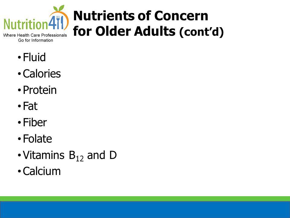 Fluid Calories Protein Fat Fiber Folate Vitamins B 12 and D Calcium Zinc Nutrients of Concern for Older Adults (cont'd)