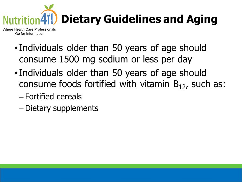 A diet pattern that meets the Dietary Guidelines for Americans: – High in fruit and vegetables – Low in saturated fat – Low in sodium – High in potassium – High in fiber DASH Eating Pattern