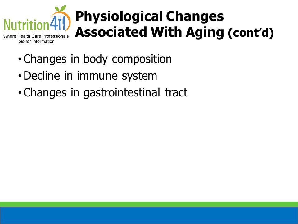 Changes in body composition Decline in immune system Changes in gastrointestinal tract Dental problems Physiological Changes Associated With Aging (cont'd)