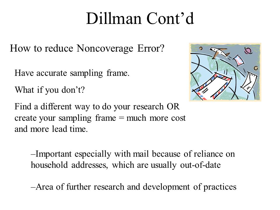 Dillman Cont'd How to reduce Noncoverage Error.