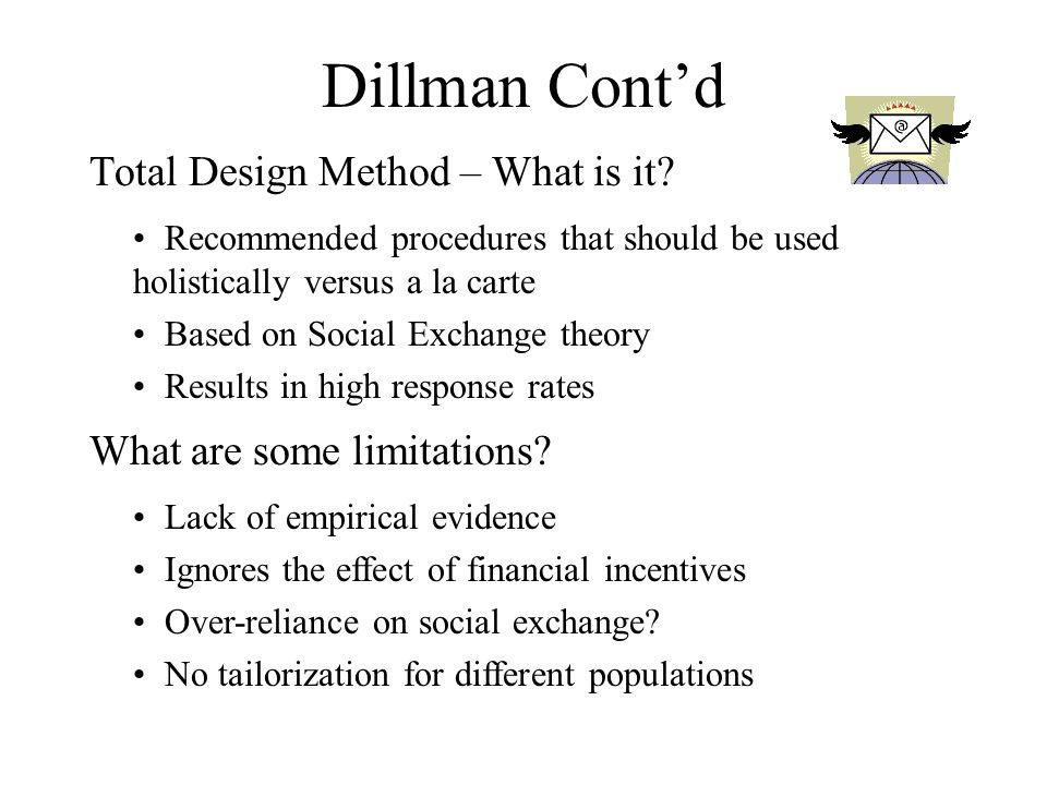 Dillman Cont'd Total Design Method – What is it.