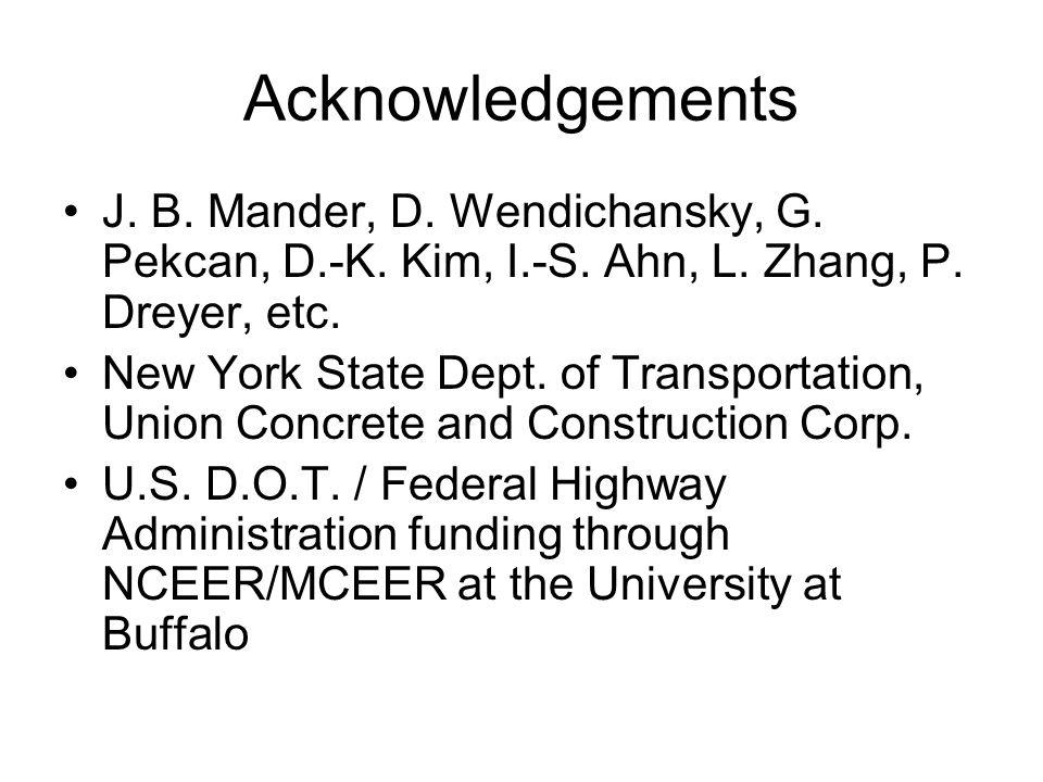 Acknowledgements J. B. Mander, D. Wendichansky, G.