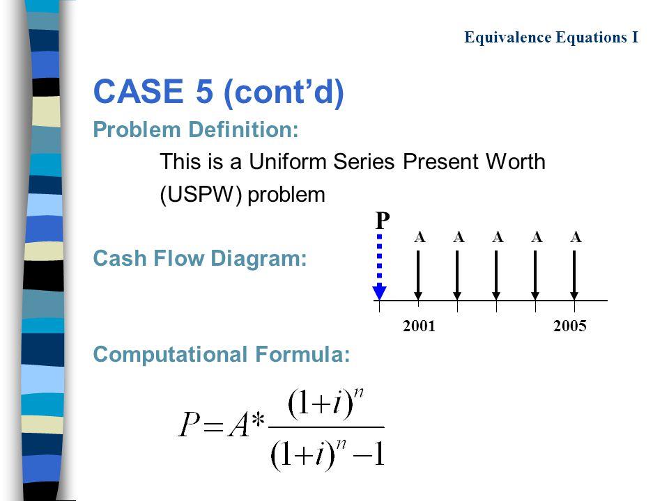 CASE 5 (cont'd) Problem Definition: This is a Uniform Series Present Worth (USPW) problem Cash Flow Diagram: Computational Formula: 20012005 P AAAAA