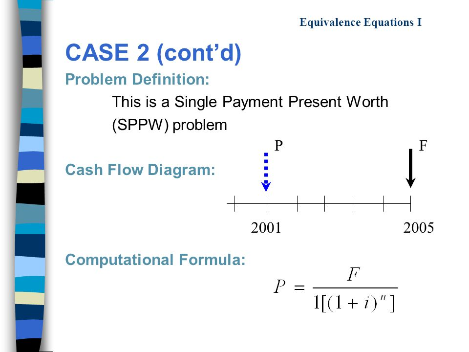 Equivalence Equations I CASE 2 (cont'd) Problem Definition: This is a Single Payment Present Worth (SPPW) problem Cash Flow Diagram: Computational Formula: 20012005 PF