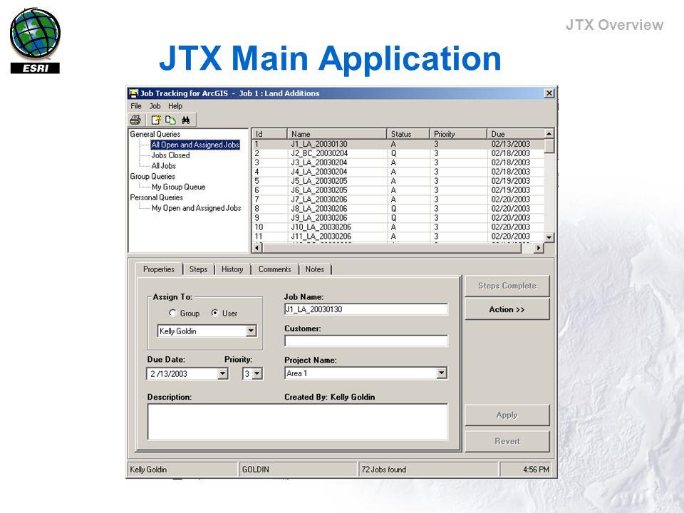 JTX Overview JTX Main Application