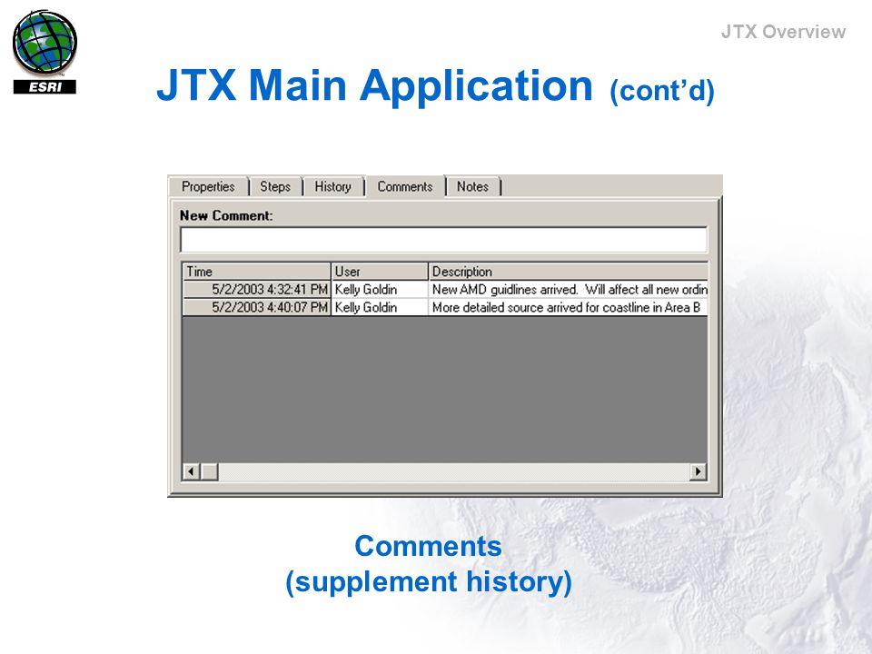 JTX Overview JTX Main Application (cont'd) Comments (supplement history)