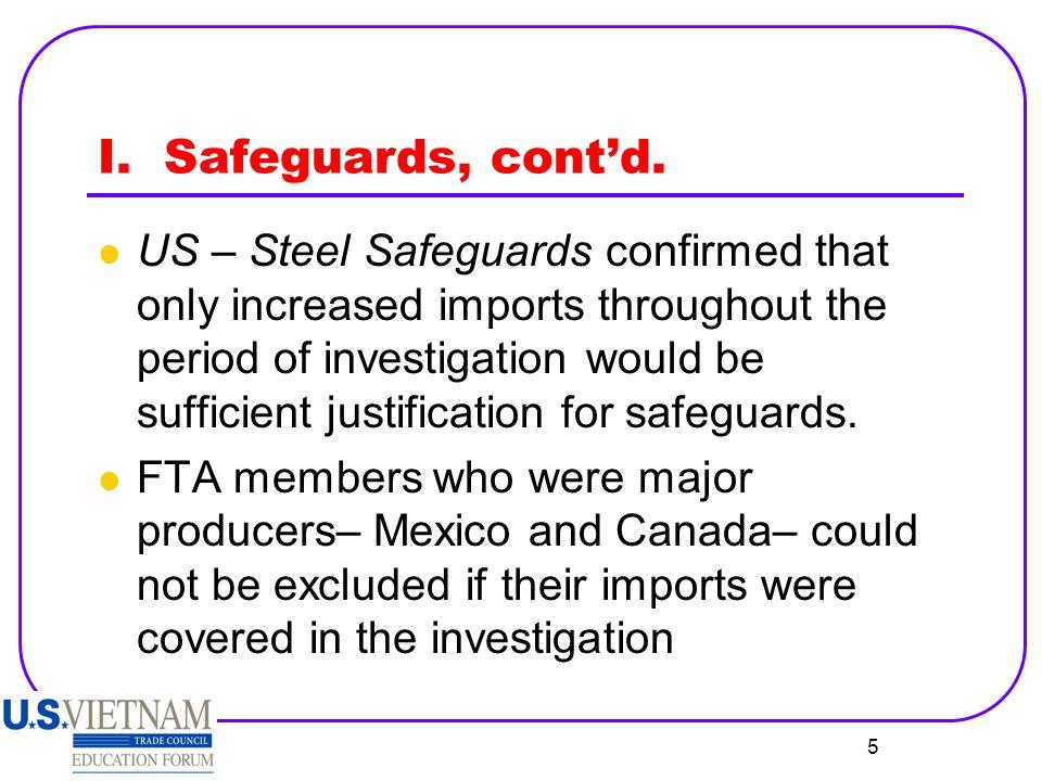 6 I.Safeguards, cont'd.
