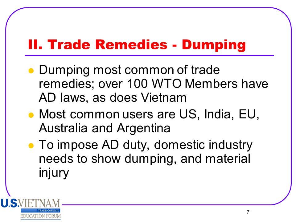 8 II.Dumping, cont'd.