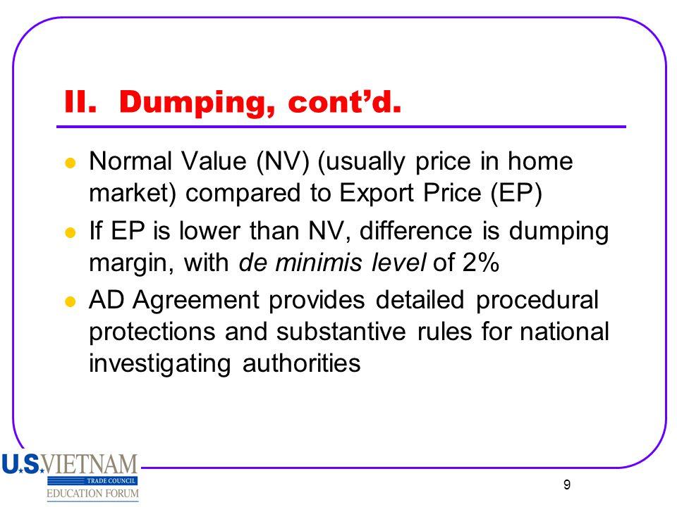 10 II.Dumping, cont'd.