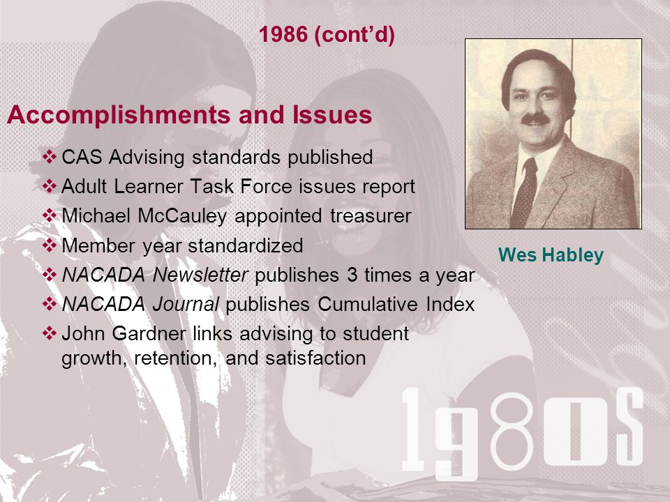 Accomplishments and Issues  CAS Advising standards published  Adult Learner Task Force issues report  Michael McCauley appointed treasurer  Member year standardized  NACADA Newsletter publishes 3 times a year  NACADA Journal publishes Cumulative Index  John Gardner links advising to student growth, retention, and satisfaction 1986 (cont'd) Wes Habley