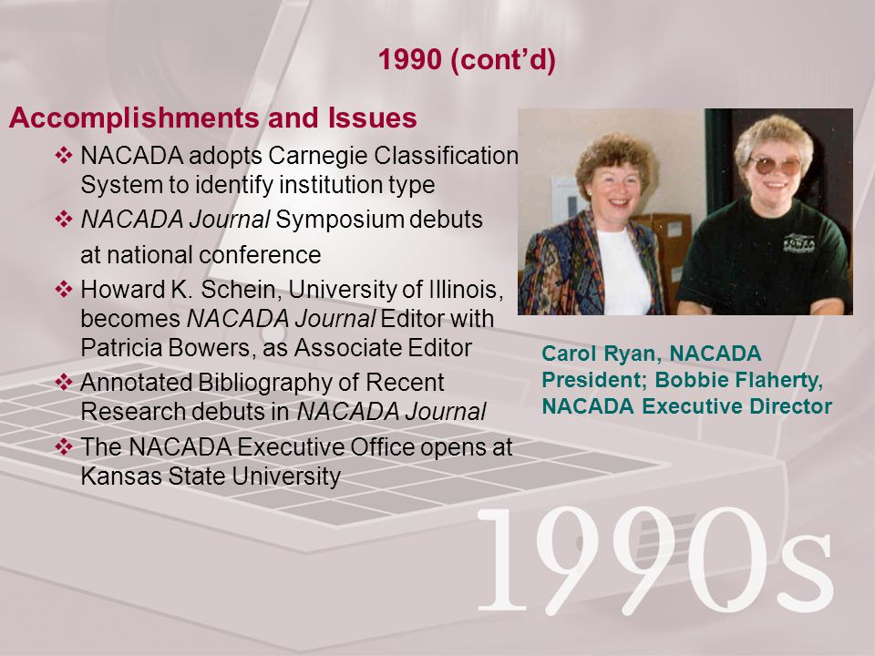 Accomplishments and Issues  NACADA adopts Carnegie Classification System to identify institution type  NACADA Journal Symposium debuts at national conference  Howard K.