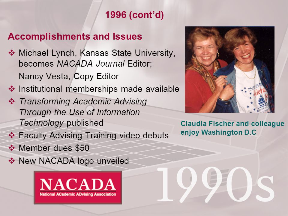 Accomplishments and Issues  Michael Lynch, Kansas State University, becomes NACADA Journal Editor; Nancy Vesta, Copy Editor  Institutional memberships made available  Transforming Academic Advising Through the Use of Information Technology published  Faculty Advising Training video debuts  Member dues $50  New NACADA logo unveiled 1996 (cont'd) Claudia Fischer and colleague enjoy Washington D.C